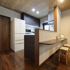 対面キッチン/カウンター/家事楽/キッチンカウンター/造作/便利なキッチン/... 対面キッチン+カウンターは朝の忙しい時間…