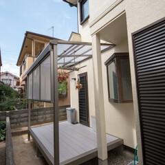 庭/エクステリア/外構/テラス/ガーデン/デッキ/... 庭を整地してテラスを設置しました。LIX…