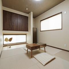畳/琉球畳/和モダン/和室/モダン/おしゃれな和室/... 正方形の畳を敷いたモダンな和室(加古川市…