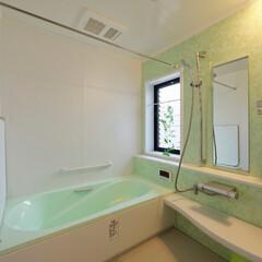 タイルのお風呂/在来浴室/お風呂/お風呂リフォーム/浴室リフォーム/グリーン/... タイルのお風呂を、さわやかグリーンのシス…