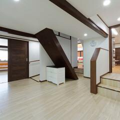 土間/床作り/クッションフロアー/バリアフリー/滑りにくい床/安全な家/... 土間スペースに新しく床を作りました。クッ…