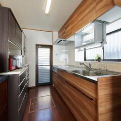 キッチンリフォーム/昇降ラック/水切りラック シンク上に昇降ラックのあるキッチン(高砂…