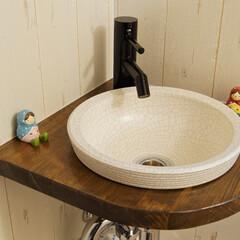 トイレ/トイレリフォーム/造作/手洗い器/作りつけ/手洗い/... 造作の手洗い器。  雑貨店にありそうな、…