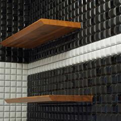 LIXIL/リクシル/タイル/建材/ショコラテ/洗面所/... LIXILのタイル建材「ショコラテ」を貼…