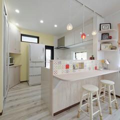 かわいいキッチン/かわいい家/かわいいインテリア/キッチンリフォーム/キッチンカウンター/対面キッチン/... 絵本に出てきそうなかわいいキッチン(加古…