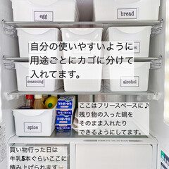 キッチン/カゴ収納/冷蔵庫整理/冷蔵庫収納/冷蔵庫/収納/... 久しぶりに冷蔵庫収納を見直しつつ掃除しま…(2枚目)