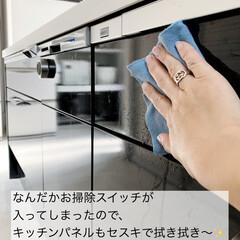 床掃除 フローリング用おそうじクロス 3枚入り(掃除用ブラシ)を使ったクチコミ「キッチンパネルについた手垢汚れにもセスキ…」