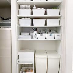 kcud/モノトーンインテリア/ダストボックス/背面収納/ゴミ箱収納/ゴミ箱/... キッチンのゴミ箱を新しくKCUDのゴミ箱…