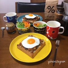 アレンジレシピ/アレンジ/オープンサンド/ラピュタパン/コーヒー/朝ごはん/... おはようございます☺︎ 今日はすごい雨雨…
