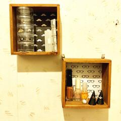 DIY/100均/セリア/インテリア/収納 アクセサリーの定位置 セリアの木製壁掛け…(1枚目)
