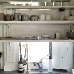 キッチン棚/コップ/マグカップ/食器/インテリア/ディアウォール/... コップやマグカップなどはメイン食器とは別…
