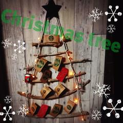 セリア/ダイソー/流木/ロープ/簡単手作り/クリスマスツリー/... 流木とロープで簡単❢❢電動工具不要のCh…