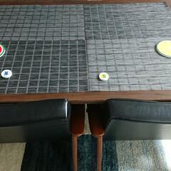 手づくり/我が家のテーブル/シンプル/木のぬくもり 手づくりしたダイングテーブルに、カリモム…