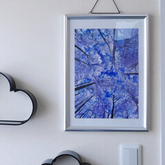 雪景色/ポスター/ダイソーのフレーム/ウォールインテリア/冬のインテリア 雪景色のポスター。 小さめサイズだけど、…