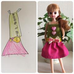 手作り洋服/リカちゃん/リフォーム/雑貨/100均/セリア/... 左:娘のデザイン画(笑) 右:出来上がり…(1枚目)