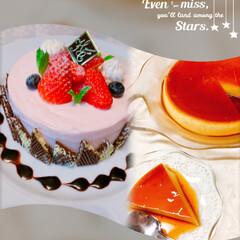イチゴ/レアチーズケーキ/焼きプリン/夕景 イチゴのレアチーズケーキ🍰💗を動画で見つ…