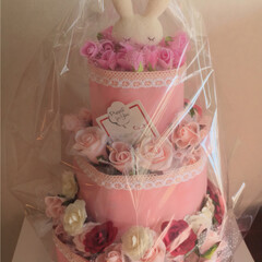 ハンドメイド/おむつケーキ/出産祝い/赤ちゃん/女の子 友人の所に可愛い女の子が誕生されたので、…