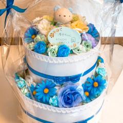 男の子/出産祝い/オムツケーキ/ハンドメイド/ダイソー/セリア お友達の娘さんに可愛い男の子が産まれまし…