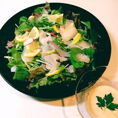 鯛の刺身/カルパッチョ/白身魚/フード/ハンドメイド 白身魚(鯛)のカルパッチョを作ってみまし…