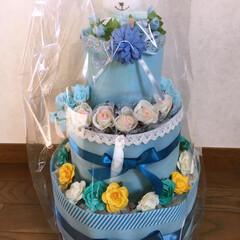 出産祝い/男の子/セリア/ダイソー/オムツケーキ 娘のお友達の出産祝いにおむつケーキを作っ…