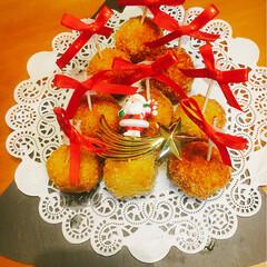 パーティー/クリスマス/フード/ハンドメイド カボチャのコロッケです。丸いから 盛り付…