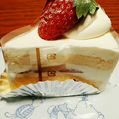 誕生日ケーキ 今日、私の誕生日なのだ😅🍰 ささやかだけ…