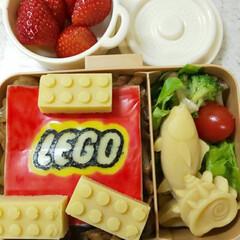 面白い/LEGO/レゴ/キャラ弁/お弁当/スイーツ LEGO弁当~。 LEGO、マグロ、サザ…