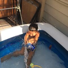 プール/おうちプール/夏/水遊び/子供 おうちプールで水遊び