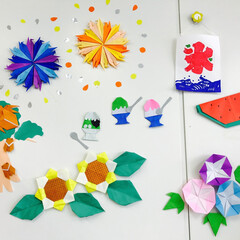 折り紙/手作り/花火/かき氷/カブトムシ/ひまわり/... 折り紙で作った夏🍉 花火、かき氷(イチゴ…