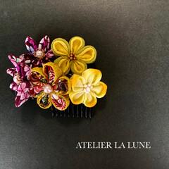 ATELIER LA LUNE/Facebookやってます/インスタやってます/minne/minneで販売します/卒業式/... つまみ細工の髪飾り。こちらはコームにして…