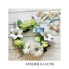 アーティフィシャルフラワー/minne/minneで販売中/リース手作り/ハンドメイド/手作り/... 白系のお花を使って、夏の爽やかなリースを…(1枚目)