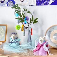 笹飾り/バーズワーズシルクスクリーン/ファブリックパネルDIY/カウニステ/和風も好き/北欧好き/... 明日から7月✨ しろくまくんたちを織姫と…