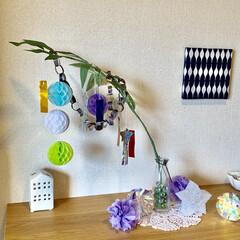 星型ライト/折り紙/オーロラティンセルボール/ポンポンオーナメント/キャンドルホルダー/ニトリ/... 玄関ディスプレイを七夕飾りに変えました。