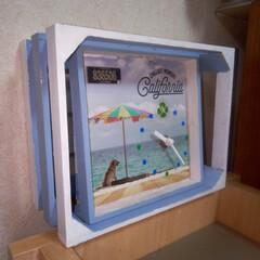 ハンドメイド/夏用時計/ウッドボックスDIY/手作り時計キット/雑貨 3年前にセリアの時計キットとトレイで、作…(1枚目)