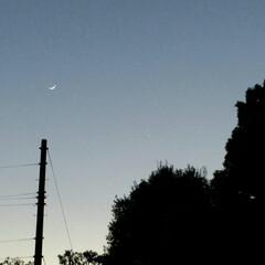 夕景/星/三日月 やっと晴れた夕空に、細~い三日月。そして…