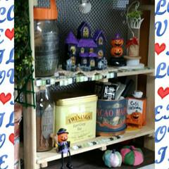 ハロウィン雑貨/ダイソー/ハンドメイド 夏時計を飾っていた場所をハロウィーンの飾…