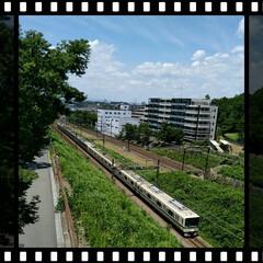 橋/電車/おでかけ サイクリングしながら、❬電車見橋❭から見…