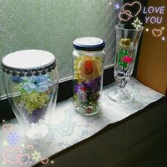 ガラス瓶/100均/インテリア グラスや空き瓶に百均のフラワーやグリーン…