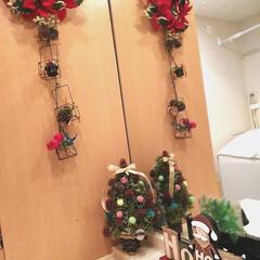 モミジバフウの木の実のツリー/フラワーリース付きミラー/クリスマス/クリスマスツリー/ハンドメイド/ダイソー/... 「まっくろくろすけ」のようなモミジバフウ…
