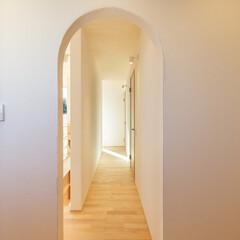 住まい/廊下/スポットライト/無垢フローリング/天井板貼/家/... 廊下
