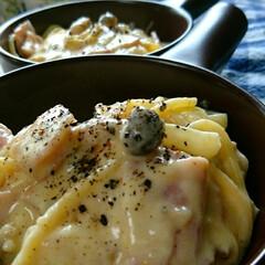 スープだくだく/やっと食べたよ/カルボナーラ/ちえCafe/暮らし/フォロー大歓迎 おうちカルボナーラ😋🍴  最近ずっと食べ…