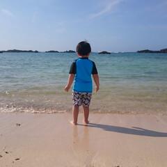 海/青/沖縄/浜辺 はじめての青い海に立ち尽くす