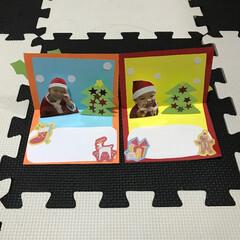 クリスマスカード/ポップアップカード/手作りカード ポップアップ式クリスマスカード 喜んでく…