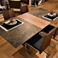 """セラミック/ダイニング/食卓/ウォールナット セラミックの伸長式ダイニングテーブル""""A…"""