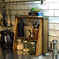 キッチン棚/収納/棚/SPF材/スタック/スツール/... 多目的シェルフデルタくんはキッチン棚とし…
