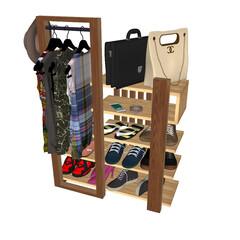 ハンガーラック/収納/収納棚/ラック/チェスト/シェルフ/... 例のハンガーラック付き収納棚は玄関に置い…