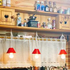ペンダントライト/ダクトレール/Seria/kitchen なんちゃってダクトレール、ペンダントライ…