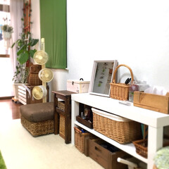 緑/白/籠/茶系/インテリア/リビング/... 白!緑!茶系! 夏の部屋のアイテム取り揃…