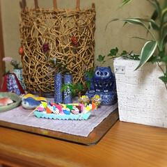 下駄箱/手作り/和小物/趣味/置き物/折り紙/... 下駄箱上の和コーナーに舟を添えて夏アピール