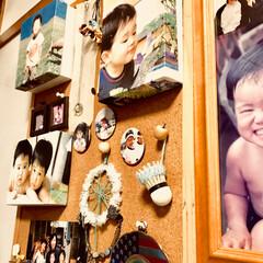 コルクボード/写真/こども/インテリア/ハンドメイド こどもの写真も立体的に飾りましょ♫ ちょ…
